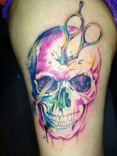 Hate the skull love the colors Cosmetologist Tattoo, Cosmetology Tattoos, Hairdresser Tattoos, Hairstylist Tattoos, Future Tattoos, Love Tattoos, New Tattoos, Body Art Tattoos, Awesome Tattoos