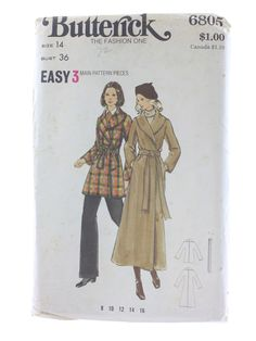 1970's Sewing Pattern (Simplicity Pattern No. 6805): 70s -Simplicity Pattern No. 6805- Womens coat. Loose-fitting wrapped coat in two lengths has shawl collar, full length kimono sleeves, pockets in side seams, topstitching and self tie belt. Purchased pants. Pattern has never been cut.