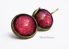 """Boucles d'oreille """"dormeuses"""" bronze rouges de Cloméli Créations sur DaWanda.com"""