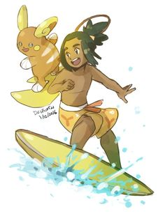 OK BUT WHAT IF Hau surfing with his Alolan Raichu.