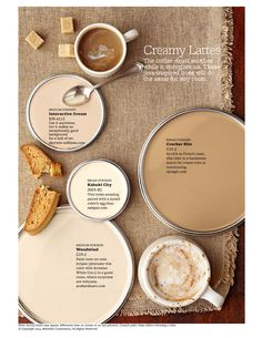 Neutral Paint Colors Creamy Latte Paint Colors - Just like your favorite latte or coffee drink, these paint colors are comforting, yet energizing. Sometimes getting the right hue, like getting the right coffee drink, is a custom job. Interior Paint Colors, Paint Colors For Home, Interior Design, Interior Painting, Wall Colors, House Colors, Pantone, Brown Paint Colors, Paint Colours