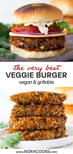 Veggie Burger Recipe (Vegan & Grillable) - This is my go-to vegan burger recipe and it's by far the BEST veggie burger out there! Made with -Best Veggie Burger Recipe (Vegan & Grillable) - This is my go-to vegan burger recipe and it's by far the BEST. Vegan Veggie Burger, Vegan Burgers, Veggie Burger Recipes, Simple Veggie Burger Recipe, Brown Rice Veggie Burger Recipe, Veg Burger Patty Recipe, Rice Sandwich Recipe, Veggie Only Diet, Vegetarian Meals
