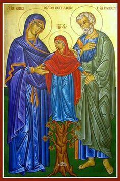 """성 요아킴과 안나성녀 두 분이 등장하는 대부분의 이콘은 서로 따뜻하게 안고있는 모습이 인상적이며, 두 성인사이에 소녀 마리아님이 딛고 있는 나무는 예수님의 족보를 나타내는 이콘에 자주 등장하는 다윗왕의 아버지인 """"이사이의 나무""""라 여겨집니다."""