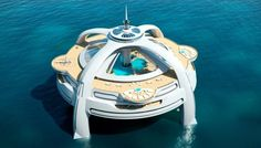 Private Island Homes  This concept home has a retractable glass canopy and can be floated anywhere.  Photo: Nigel Gee