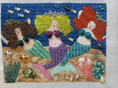 Three Mermaids by Toby Moss. She used some beads from Accents Beads to finish off these cuties.