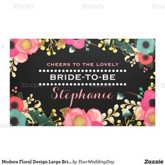 Modern Floral Design Large Personalized Bridal Shower Banner