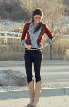 chambray, burgundy cardigan, jeans, skinny belt, tall boots