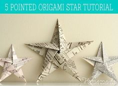 photo tutorial: Folding 5 Pointed Origami Star Christmas Ornaments ... using upcycled paper ...
