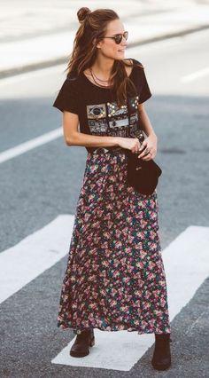Boho-Style-Zigeuner-Street-Style-Farm-Floral-Rock - Cocktail dress new Mode Hippie, Mode Boho, Hippie Style, Bohemian Style, Bohemian Fashion, Gypsy Style, White Bohemian, Boho Summer Outfits, Hippie Outfits