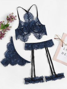 192243e8d8 To find out about the Eyelash Lace Garter Lingerie Set at SHEIN, part of  our latest Sexy Lingerie ready to shop online today!