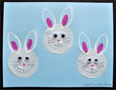 """Bunny  Crafts: Cupcake Liner Bunny craft.  She made the ear """"stamper"""" by bending a TP tube! So cute!"""