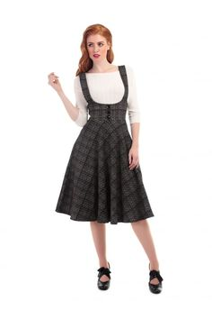 Natalia Check Skirt Aida Zak Clothes The Workwear Edit @ Collectif and Vintage Style Clothing and Rockabilly Collection Retro Outfits, Vintage Style Outfits, Retro Fashion, Vintage Fashion, Linnet, 1940s Dresses, Swing Skirt, Pinafore Dress, Work Wardrobe