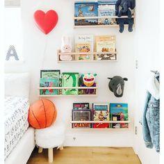 The Library—Kid's Book Shelfie! These IKEA Flisat wall storage ledges are great use of vertical spac Ikea Girls Room, Ikea Kids Playroom, Kids Room, Playroom Decor, Kids Storage, Wall Storage, Bedroom Storage, Ikea Book, Ikea Nursery