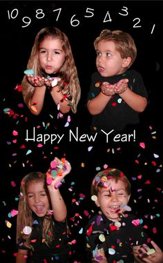A New Years Day Card from the Bale family (using confetti photoshopped into the picture).  I love this family's Christmas/New Year's card ideas!!