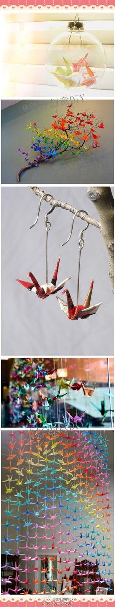 Decorating with origami paper cranes (SaiFou – Inspiring images)