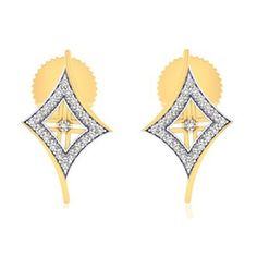 14K wo Tone Gold On .925 Sterling Silver White Diamond Kite Shape Stud Earrings #adorablejewelry #KiteShapeStudEarrings #AnySpecialDay
