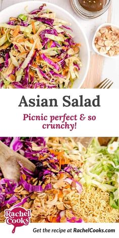 Vegetarian Asian salad with ramen noodles combines a variety of tastes and textures and makes enough to feed a crowd! With a soy vinaigrette dressing, it's sure to please everyone. Healthy Coleslaw Recipes, Lunch Recipes, Cooking Recipes, Asian Ramen Noodle Salad, Ramen Noodles, Side Dish Recipes, Side Dishes, Bbq Chicken Salad, Vinaigrette Dressing