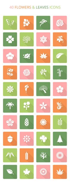 flowers-leaves-icon-set graphic design icon plants flower flowers trees