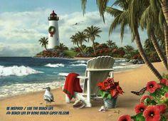 White Adirondack Chair on Beach with Lighthouse Holiday Cards - Coastal Christmas Stationery - California Seashell Co Beach Christmas, Coastal Christmas, Christmas Cards, Merry Christmas, Christmas Scenery, Tropical Christmas, Christmas Stocking, Holiday Cards, Jimmy Lawlor