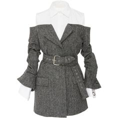 MONSE Belted Herringbone Jacket (€2.085) ❤ liked on Polyvore featuring outerwear, jackets, dresses, coats, grey, gray jacket, belted jacket, off-the-shoulder jackets, grey jacket and off the shoulder jacket