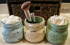 One of my most favorite thing in life is mason jars. I store everything in them and decorate with them every chance I get. I love the look of distressed paint