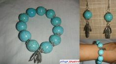 Turquoise Bracelet and Earrings Set with Tibetan Feathers- Handmade