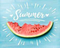 Summer concept illustration. Slice of watermelon on turquoise blue background top view. by 2enroute