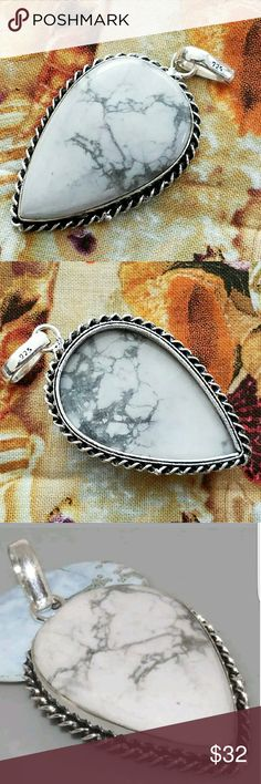 """NAVAJO HOWLITE PENDANT Navajo White Howlite Sterling Silver Pendant (2"""") Stamped 925 Jewelry Necklaces"""
