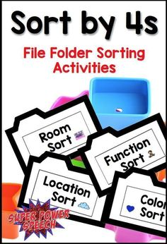 Sort by is the perfect sorting activity for students who have already reached their goals for sorting by but still need extra categorizing help. Sort by provides four clear categories that divide items by attributes, function, or location. File Folder Activities, File Folder Games, Sorting Activities, Speech Therapy Activities, Language Activities, File Folders, Receptive Language, Speech And Language, Vocational Tasks
