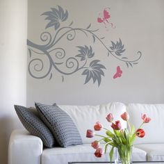 Swirl Tree and Butterflies Wall Decal