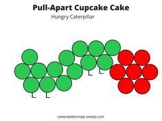 Hungry Caterpillar Pull-Apart Cupcake Cake Template