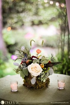 Rustic Green White Centerpiece Centerpieces Fall Garden Wedding Flowers Photos & Pictures - WeddingWire.com