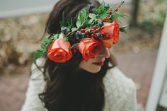 rose flower crown photo by Violet Short Photography