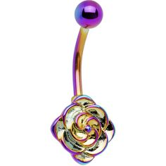 "$6.99, Bodycandy.com ""Rainbow Electro Titanium Flower Bloom Belly Ring"""