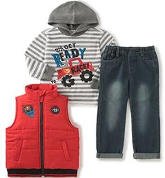 Kids Headquarters Little Boys Toddler 3 Pieces Vest Set Thermal Tee Red 2T    Continue to fabb3475e