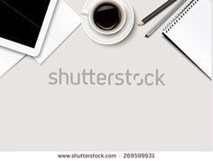 Office workspace - coffee, tablet, paper and some pens. Vector. - stock vector