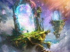 Find images and videos about sky, illustration and fantasy on We Heart It - the app to get lost in what you love. Fantasy Artwork, Fantasy Art Landscapes, Landscape Art, Landscape Wallpaper, Fantasy Places, Fantasy World, Digital Art Illustration, Portal Art, Fantasy Setting