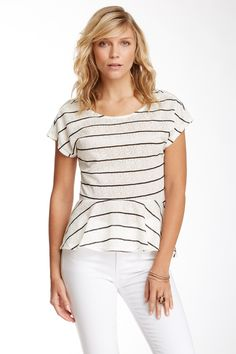 Painted Threads Lace Overlay Striped Peplum Blouse (Juniors) by Painted Threads on @nordstrom_rack