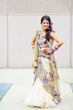 Indian bride in cream and purple modern lehnga with tulle Saree Blouse Patterns, Saree Blouse Designs, Traditional Indian Wedding, Traditional Dresses, Indian Wedding Outfits, Wedding Dresses, Indian Weddings, South Asian Bride, Lehenga Saree