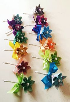 Paper Flower Buttonhole Boutonniere Wedding Accessories Corsage Rainbow Multi Coloured