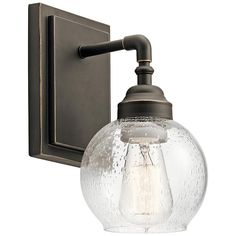 Seeded Glass Sconce Pewter Kichler Lighting at Destination Lighting Bronze Wall Sconce, Wall Sconce Lighting, Kitchen Lighting, Contemporary Wall Sconces, Dimmable Light Bulbs, Wall Lights, Ceiling Lights, Antique Pewter, Bronze Finish