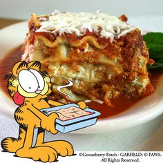Gooseberry Patch Recipes: Classic Lasagna from Garfield...Recipes with Cattitude  (Visit @Garfield for more feline fun!)