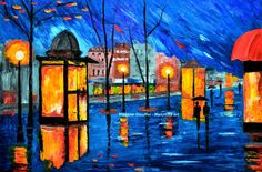 watercolor paris rain | Cityscape Painting Rain Paris Street France Couple Oil Original 36 034 ...