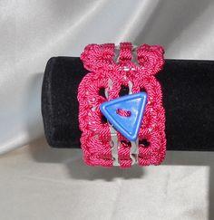 POP TOP BRACELET - Crochet Pop Tab Button Cuff Bracelet - Dark Pink, Blue Triangle Button $10.00