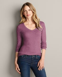 Favorite Long-sleeve V-neck T-shirt | Eddie Bauer