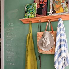 Kitchen Message Center | At first glance, this wall appears to be painted a pretty greenish blue, but look closer and notice the surprise. Standard chalkboard paint with just a little white added serves as a great place to jot notes and reminders.