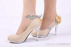 59281e367680 New Arrival Women Pumps Beautiful Khaki Vogue Lace Flowers Crystal High  Heels Wedding Bridal Shoes Wedding Shoes By Pink Wedding Shoes Cork From ...