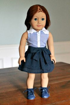 Navy Bow Skirt ($10) and Blue and White Stripe Sleeveless Oxford Shirt by JanieJumps via Etsy
