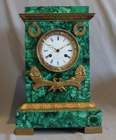 Malachite clock with movement by Rodier Hr a Paris.