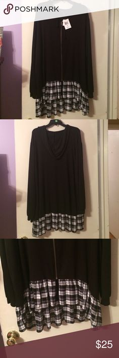 NWT Black Plaid Hoodie This is a very comfy black hi low hoodie with plaid on the hem. living doll Jackets & Coats
